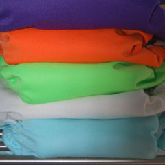 stack of multicolored diapers